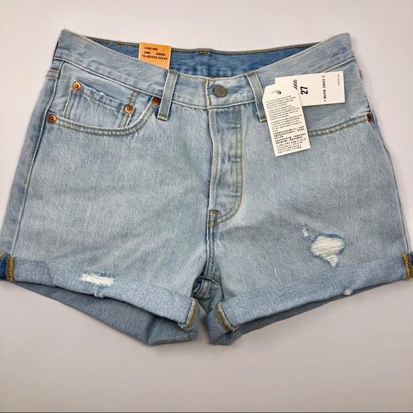 3c6e4e31 Levi's Shorts | Nwt Levis 501 High Waist Long Short Pale Blue 27 ...